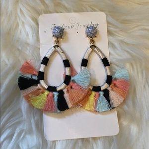 Wrap String Multi Color Tassel Earrings